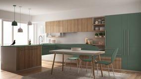 Moderne minimalistic hölzerne Küche mit Speisetische, Teppich und panoramischem Fenster-, weißem und Grünemarchitekturinnenraum lizenzfreie abbildung