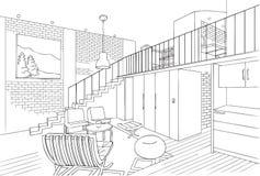 Moderne Minimalistische Familiezaal Vectorlijn Art Illustration Stock Afbeelding