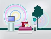 Moderne minimalistische slaapkamer Stock Fotografie