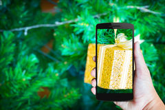 Moderne mobiele telefoon in de hand Royalty-vrije Stock Foto