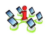 Moderne mobiele telefoons rond het teken van Info. Stock Foto's