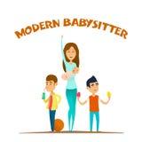 Moderne modieuze babysitter stock illustratie