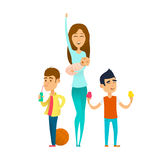Moderne modieuze babysitter vector illustratie