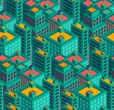 Moderne naadloze het patroon vectorillustratie van de stadsmeetkunde Stock Afbeelding