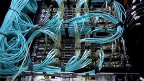 Moderne netwerkschakelaar met kabels Optisch scheidt c stock video
