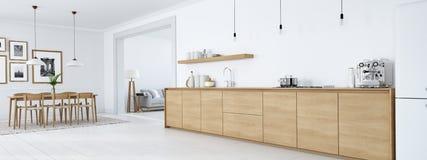 Moderne noordse keuken in zolderflat het 3d teruggeven Vector Illustratie