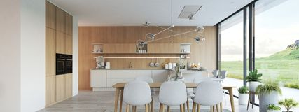 Moderne nordische Küche in der Dachbodenwohnung Wiedergabe 3d lizenzfreie stockfotografie