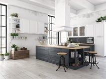 Moderne nordische Küche in der Dachbodenwohnung Wiedergabe 3d stockfoto