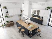 Moderne nordische Küche in der Dachbodenwohnung Wiedergabe 3d stockbilder