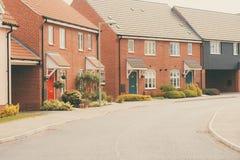 Moderne onlangs gebouwde woonwijk Stock Fotografie