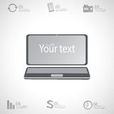 Moderne ontwerp infographic 3d laptop computer met plaats voor uw tekst Kan voor Webontwerp, diagram worden gebruikt, charnumber  Royalty-vrije Stock Foto