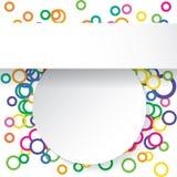 Moderne ontwerp schone banner op kleurrijke die cirkelsachtergrond voor websitelay-out wordt gebruikt Infographics Stock Afbeeldingen