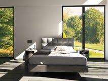 Moderne Ontwerpslaapkamer met landschapsmening Stock Fotografie