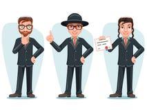 Moderne Orthodoxe Slimme Toevallige Jonge Israel Businessman Male Cartoon Characters Geïsoleerde Pictogrammen Geplaatst Ontwerpve Royalty-vrije Stock Foto's
