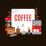 Moderne pictogrammen voor koffiewinkel en koffiehuis Stock Foto's