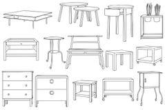 Moderne Plank, Lijst en Kast Vectorlijn Art Illustration Royalty-vrije Stock Foto