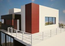 Moderne privé 3d huisbuitenkant stock illustratie