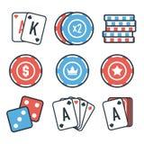 Moderne reeks kleurrijke het gokken en casinopictogrammen voor website of mobiele toepassing Heldere en modieuze elementen voor u Stock Afbeelding