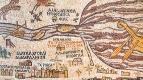 Moderne Replik historischer alter Madaba-Karte stockbilder
