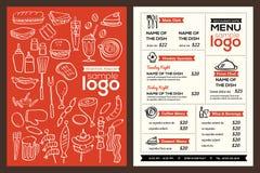Moderne Restaurantmenüabdeckungsdesignflugschrift-Vektorschablone Stockbild