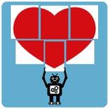 Moderne robot met figuurzaag gelukkig hart Stock Fotografie