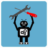 Moderne robot met moersleutel en schroevedraaier Stock Foto's