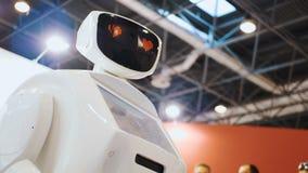 Moderne robotachtige technologieën Een mens communiceert met een robot, drukt een plastic mechanisch wapen aan de robot, handdruk stock videobeelden
