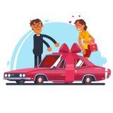 Moderne rode auto met lint zoals een heden Vector illustratie Stock Fotografie