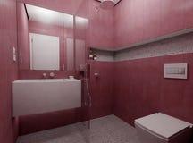Moderne rode badkamers stock foto's