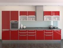 Moderne rode keuken Stock Afbeeldingen