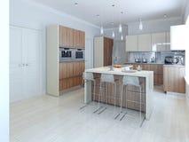 Moderne room gekleurde keuken Stock Foto
