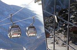 Moderne ropeway bij heuvel Chopok - Lage Tatras, Slowakije Royalty-vrije Stock Foto's