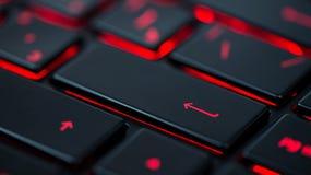 Moderne rote hintergrundbeleuchtete Tastatur, Konzept Stockbilder