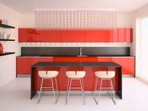 Moderne rote Küche. Stockfoto