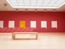 Moderne rote Kunstgalerie Stockbild