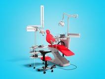 Moderne rote zahnmedizinische Ausrüstung für zahnmedizinische Behandlung 3d übertragen auf Querstation vektor abbildung