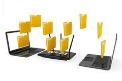 Moderne Router met foldes en Laptops Stock Afbeelding