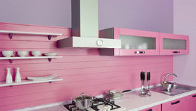 Moderne roze keuken Stock Afbeelding