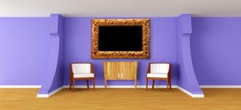 Moderne ruimte met leunstoelen, dienst en frame stock illustratie