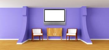 Moderne ruimte met leunstoelen, dienst en lcd TV vector illustratie