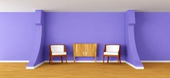 Moderne ruimte met leunstoelen en dienst royalty-vrije illustratie