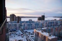 Moderne Russische architectuur van slaapgebieden Stock Foto