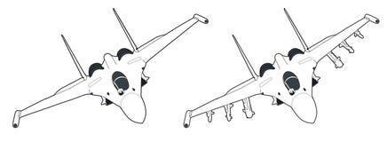 Moderne russische Düsenjägerflugzeuge Stockfotos