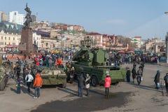 Moderne Russische pantserwagens Stock Foto