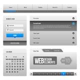 Moderne saubere Website-Gestaltungselemente Grey Blue Gray 3: Knöpfe, Form, Schieber, Rolle, Karussell, Ikonen, Menü, Navigations Stockbilder