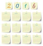 Moderne Schablone des Kalenders 2016 Stockfoto