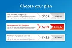 Moderne Schablone für 3 Preiskalkulationspläne mit 1 recomme Lizenzfreie Stockbilder