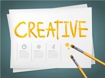 Moderne Schablone infographic mit dem Aquarellstiftschreiben kreativ stock abbildung