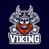 Moderne Schedel Viking en Diesel embleem stock illustratie