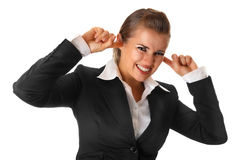 Moderne schließende Ohren der Geschäftsfrau mit den Fingern Lizenzfreie Stockfotos
